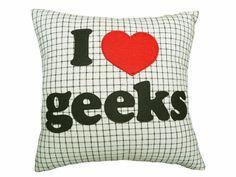 Geek Pillow Talk  I Love Geeks 16x16 New by PillowThrowDecor,
