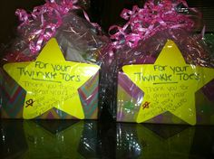 """End of the year Dance Teacher gift! """"For your Twinkle Toes, love your shinning star"""" A basket of pedicure goodies"""