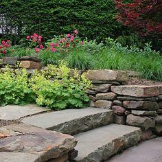 Backyard retreat - large stone steps