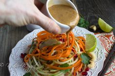 Easy Thai Cucumber Noodle Salad tossed in a homemade ginger sesame dressing & garnished with pomegranate seeds, cashews & sesame seeds. Salad Recipes Gluten Free, Raw Food Recipes, Vegan Gluten Free, Asian Recipes, Cooking Recipes, Healthy Recipes, Ethnic Recipes, Lunch Recipes, Diet Recipes