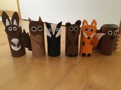 Waldtiere Klopapierrollen – Rolls of toilet paper animals from the forest – Paper Animal Crafts, Fall Paper Crafts, Animal Crafts For Kids, Paper Animals, Toddler Crafts, Diy For Kids, Toilet Roll Craft, Toilet Paper Roll Crafts, Kids Origami