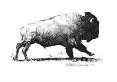 Running Buffalo by William Beauchamp Buffalo Animal, Buffalo Art, Mountain Silhouette, Silhouette Art, Bison Pictures, Animal Drawings, Art Drawings, Bison Tattoo, Austin Tattoo