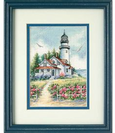 Scenic Lighthouse by Dimensions - Cross Stitch Kits & Patterns Counted Cross Stitch Patterns, Cross Stitch Designs, Cross Stitch Embroidery, Dimensions Cross Stitch, Wedding Doves, Knitting Supplies, Embroidery Techniques, Quilt Blocks, Needlework