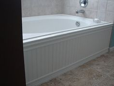 Just Another Day In Paradise: Master Bathroom Improvement - how to add beadboard skirt to bathtub Diy Bathroom, Master Bathroom, Beadboard Bathroom, Bathroom Makeover, Bathtub Remodel, Bathroom Update, Bathroom Improvements, Bathroom Mirror Frame, Bathtub