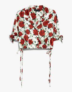 Alexander Wang / Cropped Rose Print Blouse