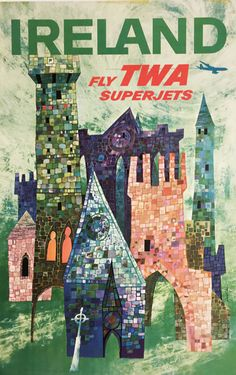 Ireland Fly TWA Superjets travel poster by D. Klein from 1960 USA.