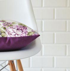 "WINTER SALE Flower Print, Decorative Pillows, Throw Pillow, Accent Pillow, Cushion Cover, Purple 16"" x 16"""
