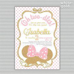 Oro y rosa Minnie Mouse cumpleaños partido invitación en
