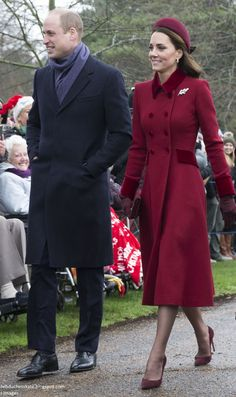 Duchess Kate: Kate's Berry Festive for Christmas Day Service at Sandringham