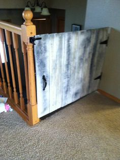Cute Baby Gate Made From Repurposed Pallets  #gate #kids #recyclingwoodpallets #stairs I used two discarded wooden pallets for this baby gate. Broke them down then reassembled. Did some painting and sanding to get the white wash look. Fe...