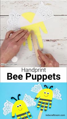 Make adorable Handprint Bee Puppets! This bee craft is super simple and so much fun to play with. We love handprint crafts and puppets are a such great way to encourage imaginative play and story telling. #kidscraftroom #kidscrafts #beecrafts #handprintcrafts #puppetcrafts #bees #summercrafts Bee Crafts For Kids, Summer Crafts For Toddlers, Thanksgiving Activities For Kids, Bug Crafts, Easy Arts And Crafts, Holiday Crafts For Kids, Daycare Crafts, Camping Crafts, Craft Activities For Kids
