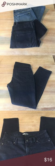 2 Pair Old Navy Jeans 2 Pairs of Old Navy Size 8 Jeans.  Black Diva Skinny  Blue denim ultra low waist. Boot cut. Old Navy Jeans