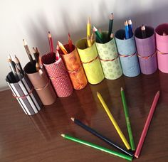 DIY Pencil Crayon Holder from recycled toilet paper rolls.