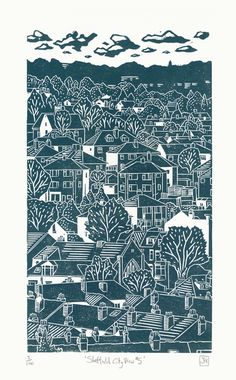 I like the simple colour choice James Green: Sheffield City View linocut This is a hand-pressed linocut print entitled 'Sheffield City View printed in blue/green/grey. Linolium, Linocut Prints, Art Prints, Block Prints, Linoprint, Call Art, Illustration, Landscape Prints, Chalk Pastels