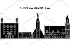 Slovakia, Bratislava architecture vector city skyline, travel cityscape with landmarks, buildings, isolated sights on background Famous Landmarks, Bratislava, Icon Design, Skyline, Layout, Landscape, Architecture, City, Illustration