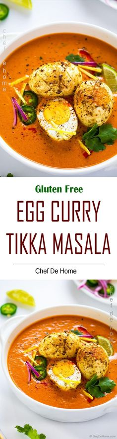 Egg Tikka Masala or Egg Curry Tikka Masala - A spicy meets savoury Indian curried egg main course with everyone's favorite silky, creamy tikka masala gravy! No chicken or paneer, let's try somethin. Curry Recipes, Egg Recipes, Side Dish Recipes, Indian Food Recipes, Asian Recipes, Vegetarian Recipes, Ethnic Recipes, Tikka Masala Sauce, Egg Curry
