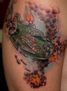 army fighter plane tattoo on back www.hoggifts.com - freddy