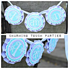 Winter Wonderland / ONEderland high chair banner by Charming Touch Parties. You Choose colors.  Boutique rosette style. by CharmingTouchParties on Etsy