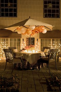 Pro Tip: No need to take your patio umbrella down for an evening gathering -- simply use it as a blank canvas for creating ambiance with paper lanterns, twinkle lights or other decorations.