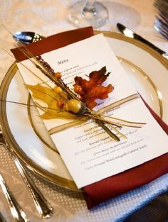by Harvest Season Weddings Use the nature as placecards and menu decorations - elegant idea that brings a touch of autumn to the table.Use the nature as placecards and menu decorations - elegant idea that brings a touch of autumn to the table. Fall Wedding Decorations, Table Decorations, Centerpieces, Fall Table Settings, Fall Wedding Place Settings, Fall Wedding Invitations, Diy Invitations, Invites, Invitation Templates