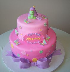 Pink turtle and butterfly cake