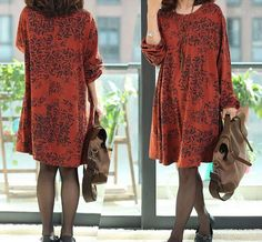 Rust red Floral Print cotton dress long by FashionStyleClothing