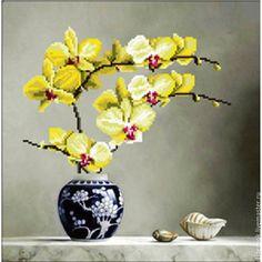 Купить Набор для вышивки крестиком 3D Желтая Орхидея - набор для вышивания, купить набор вышивки