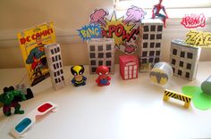 Play ideas craft activities preschool education ideas messy play sensory development for preschoolers toddlers and Early Years. Superhero City, Superhero Classroom, Superhero Ideas, Classroom Ideas, Outdoor Classroom, Small World Play, Preschool Education, Messy Play, Project Based Learning