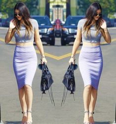 purple crop top outfit - Google Search