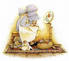 holly hobbie...reminds me of myself as a child long ago after my mother taught me the art of embroidery