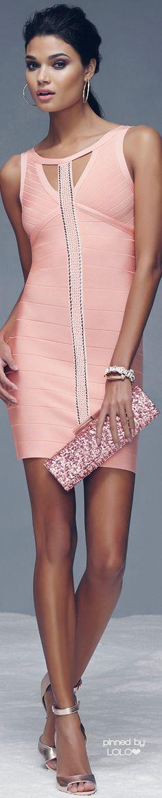 Emmy DE * BeBe ~ Embellished Bandage Dress, Coral Pink