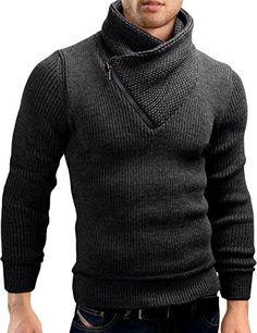 Grin Bear Slim Fit half zip high collar knit jacket hoodi... Chalecos  Hombre 69fbc13a0feb