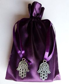 Silver-Hamsa-Hand-Charm-Purple-Satin-Tarot-Pouch-Bag