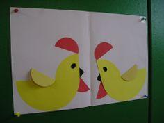 Van (halve) cirkels kuikens/kippen vouwen/knippen