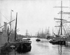 The South West India dock. One of the 3 docks on the Isle of Dogs.Abt 1900.