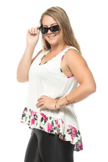 Floral Trim Plus Size Tank