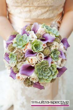 wedding bouquet purple with succulent - Google Search