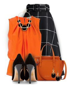 Orange & Black by colierollers on Polyvore featuring polyvore fashion style Emilio Pucci Chicwish Charlotte Olympia Salvatore Ferragamo INC International Concepts Alexis Bittar clothing