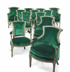 A suite of Louis XVI gray-painted seat furniture by Pillot, circa 1775.