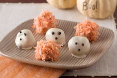 Easy Halloween Truffles -- File these easy Halloween desserts under ghoulishly delicious. These ghost truffles and pumpkins have chocolate centers that are a treat to bite into! Halloween Desserts, Halloween Camping, Fete Halloween, Easy Halloween, Holidays Halloween, Halloween Treats, Halloween Foods, Halloween Stuff, Halloween Dinner