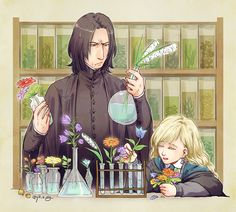 Artwork by ジル@ついったー ( jill_s_alg).   LOL! It seems that Professor Snape is not very happy with his new assistant's work! :)