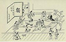 一枚の絵として独立して描かれた墨一色の浮世絵、墨摺絵(すみずりえ)。「吉原の躰(てい) 座敷」 菱川師宣(ひしかわもろのぶ)画
