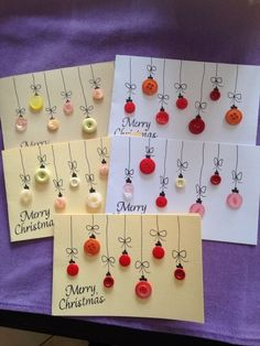 DIY Christmas Cards: the most beautiful and original ideas- DIY Weihnachtskarten… – Christmas DIY Holiday Cards Christmas Card Crafts, Homemade Christmas Cards, Kids Christmas, Homemade Cards, Handmade Christmas, Holiday Crafts, Christmas Decorations, Christmas Ornaments, Button Ornaments
