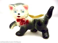 Vintage Cat Figurine Planter Pottery Gray & Pink Kitty So Cute 1940s