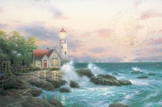 Thomas Kinkade Beacon of hope painting is shipped worldwide,including stretched canvas and framed art.This Thomas Kinkade Beacon of hope painting is available at custom size. Hope Painting, Thomas Kinkade Art, Kinkade Paintings, Thomas Kincaid, Art Thomas, Lighthouse Painting, Lighthouse Gifts, Lighthouse Keeper, Lighthouse Pictures