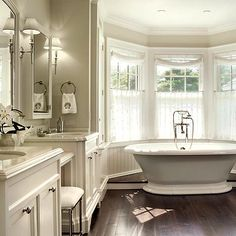 John B Murray Architect - bathrooms - freestanding tub, bay windows, gray, walls, marble, countertops, white, medicine cabinets, bathroom bay window, bay window in bathroom, cafe curtains, bay window curtains, bay bathtub in front of bay window, tub in front of bay window, Restoration Hardware Newbury Bath Stool,