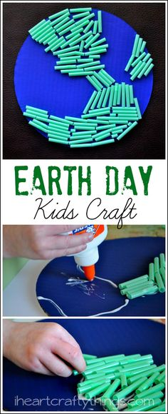 Cute and colorful Earth Day Kids Craft from iheartcraftythings.com.