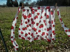 Vintage Half Size Apron With Strawberries by IBrakeForVintage, $4.00