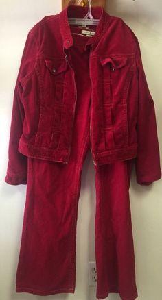 Tommy Hilfiger Corduroy Set Women's Jacket XL Stretch Pants 16 Maroon Matching | eBay