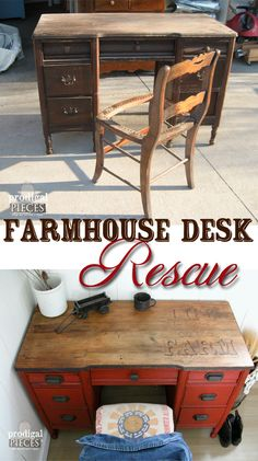 Farmhouse Desk Rescue with Woodburned Top by Prodigal Pieces | www.prodigalpieces.com